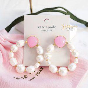 Kate Spade Pearl Drop Hoops Pink